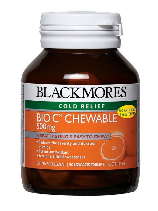 Blackmores Bio C Chewable 500 mg, Cold Relief, 50 Low Acid Tablets