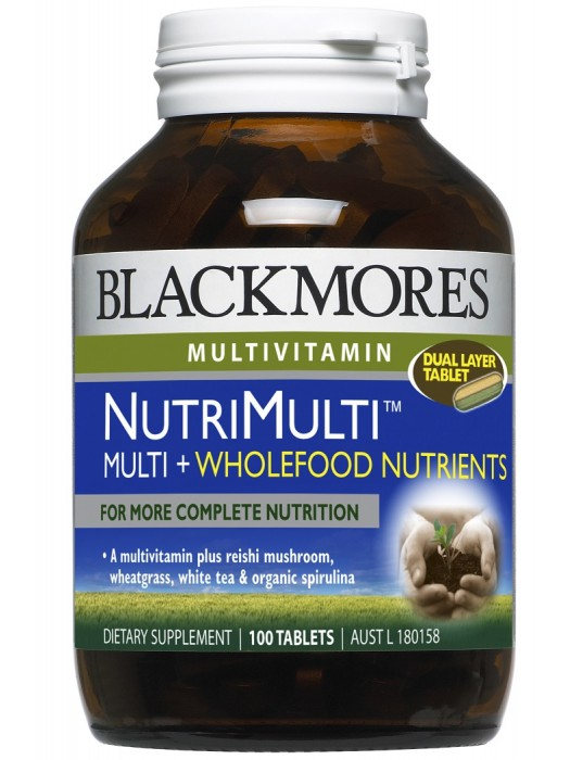 Blackmores, NutriMulti™ Multi+Wholefood Nutrients, For more complete nutrition, 100 Tablets