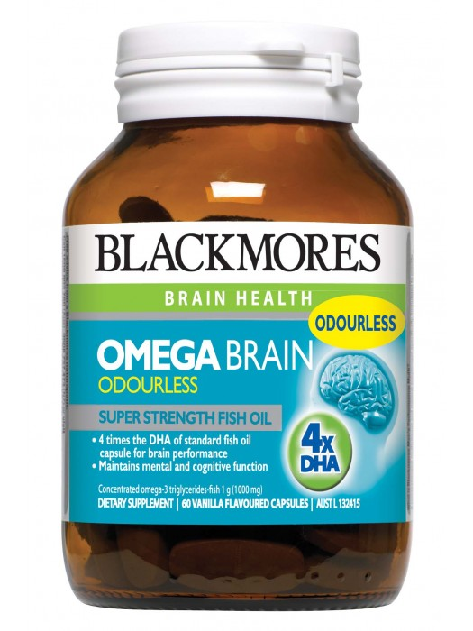 Blackmores, Omega Brain Odourless, Super Strength Fish Oil, 60 Capsules