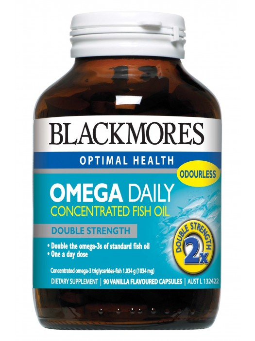 Blackmores Omega Daily Concentrated Fish Oil, Double Strength, 90 Caps