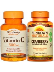 Healthy Urinary Track Bundle 2: Sundown Naturals Vitamin C and Cranber ...