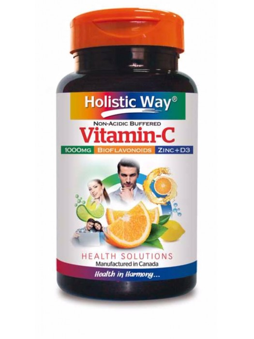 Holistic Way Non-Acidic Buffered Vitamin-C 1000mg 60 tabs, Pack of 2