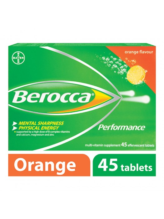 Berocca Performance Vitamin B Effervescent, Orange, 45 Tablets, Pack of 2
