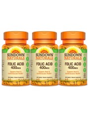 Sundown Naturals Folic Acid 400mcg, 350 tabs, Pack of 3