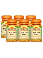 Sundown Naturals Folic Acid 400mcg, 350 tabs, Pack of 6