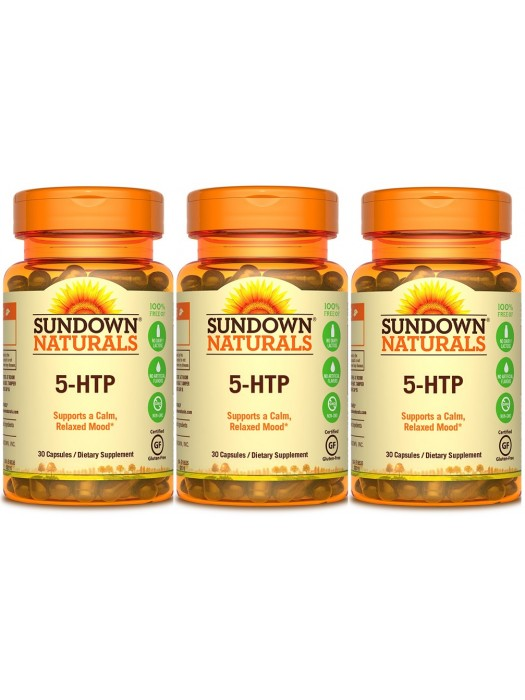 Sundown Naturals 5-HTP 200mg, 30 Caps, Pack of 3