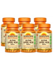 Sundown Naturals Alpha Lipoic Acid 600mg, 60 caps, Pack of 6