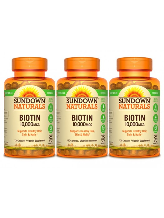 Sundown Naturals Biotin 10,000mcg, 120 caps, Pack of 3