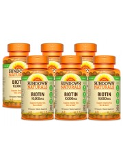 Sundown Naturals Biotin 10,000mcg, 120 caps, Pack of 6