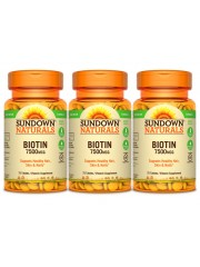 Sundown Naturals Biotin 7500mcg, 75 tabs, Pack of 3