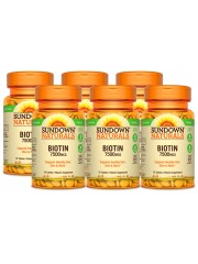 Sundown Naturals Biotin 7500mcg, 75 tabs, Pack of 6
