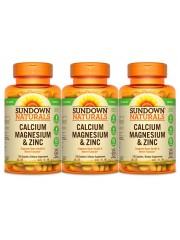 Sundown Naturals Calcium, Magnesium & Zinc, 100 Caplets, Pack of 3
