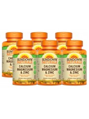 Sundown Naturals Calcium, Magnesium & Zinc, 100 Caplets, Pack of 6