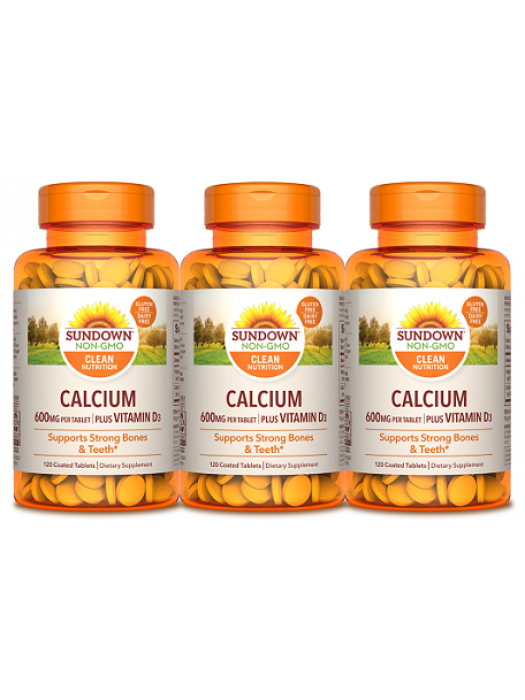 Sundown Naturals Calcium 600mg+Vitamin D3, 120 tabs, Pack of 3