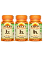 Sundown Naturals Vitamin B12 6000IU, 60 Dissolvable microlozenges, Pac ...
