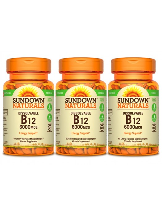 Sundown Naturals Dissolvable B12 6000IU, 60 chewable microlozenges, Pack of 3