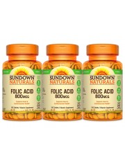 Sundown Naturals Folic Acid 800mcg, 100 Tabs, Pack of 3