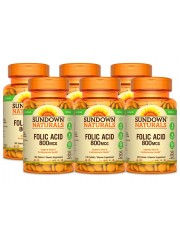 Sundown Naturals Folic Acid 800mcg, 100 Tabs, Pack of 6