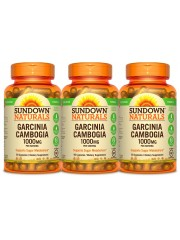 Sundown Naturals Garcinia Cambogia 1000mg, 90 Veg caps, Pack of 3
