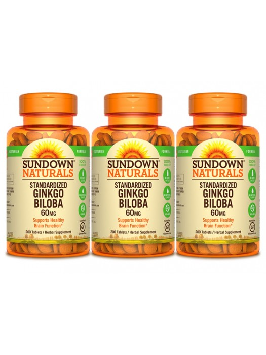Sundown Naturals Ginkgo Biloba 60mg, 200 tabs, Pack of 3