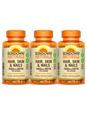 Sundown Naturals Hair, Skin & Nails, 120 Caplets, Pack of 3
