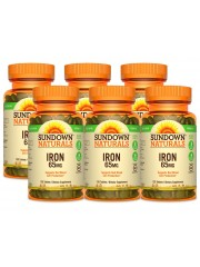 Sundown Naturals Iron Ferrous Sulfate 65mg, 120 tabs, Pack of 6