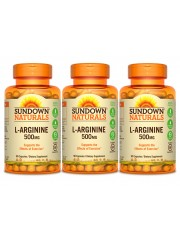 Sundown Naturals L-Arginine 500mg, 90 caps, Pack of 3