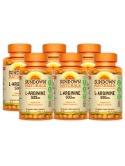 Sundown Naturals L-Arginine 500mg, 90 caps, Pack of 6