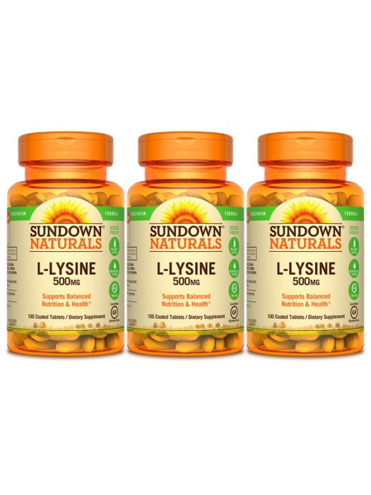 Sundown Naturals L-Lysine 500mg, 100 coated tabs, Pack of 3