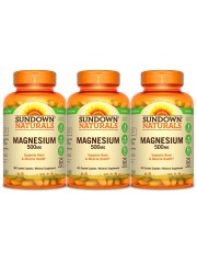 Sundown Naturals Magnesium 500 mg, 180 caplets, Pack of 3