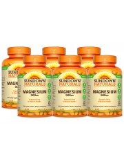 Sundown Naturals Magnesium 500 mg, 180 caplets, Pack of 6