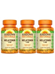 Sundown Naturals Melatonin 5mg, 90 tabs, Pack of 3