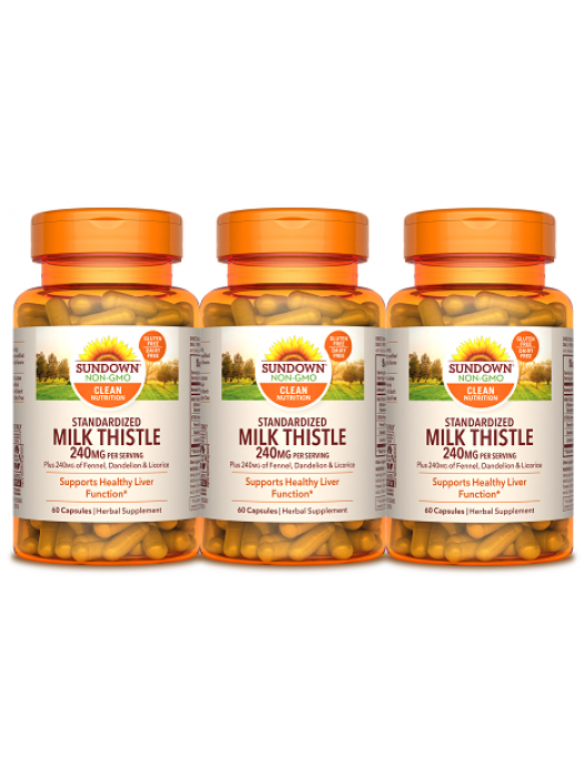Sundown Naturals Milk Thistle 240mg, 60 caps, Pack of 3