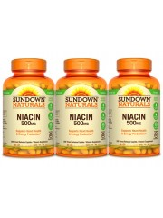 Sundown Naturals Niacin 500mg Time-Release, 200 caplets, Pack of 3