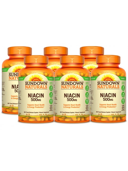 Sundown Naturals Niacin 500mg Time-Release, 200 caplets, Pack of 6