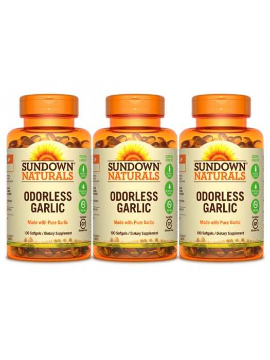 Sundown Naturals Odorless Garlic, 100 sgls, Pack of 3