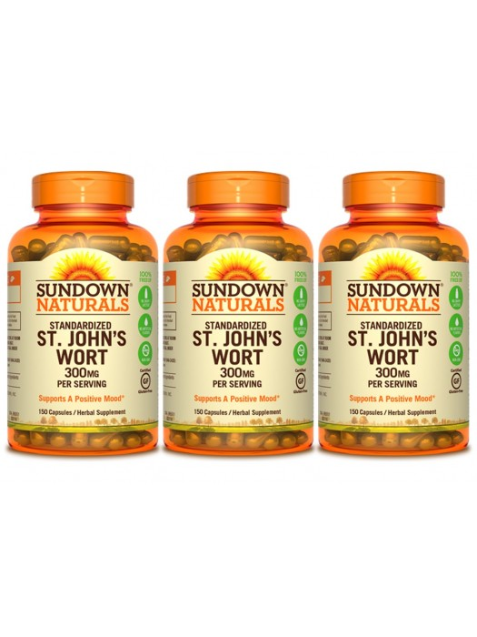 Sundown Naturals St. John's Wort 300mg, 150 caps, Pack of 3