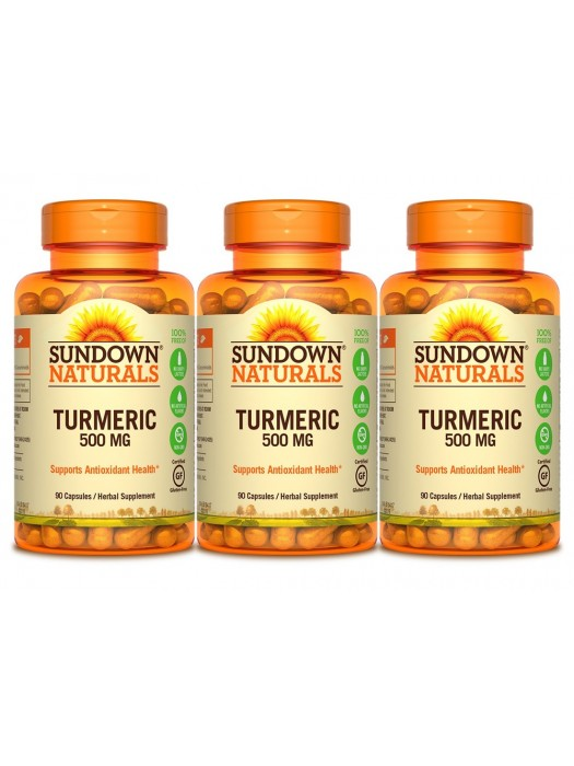 Sundown Naturals Turmeric 500mg, 90 caps, Pack of 3