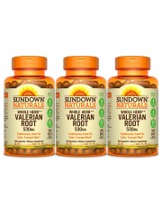 Sundown Naturals Valerian Root 530mg, 100 caps, Pack of 3