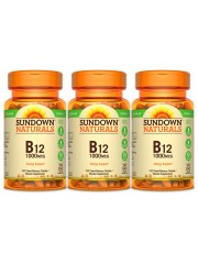 Sundown Naturals B12 Time Release 1000mcg, 120 tabs, Pack of 3