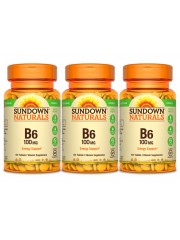 Sundown Naturals Vitamin B6 100mg, 150 tabs, Pack of 3
