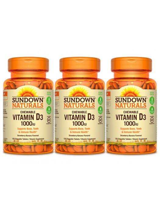 Sundown Naturals Vitamin D3 1000iu, 120 Chewable tabs, Pack of 3