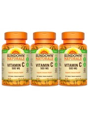 Sundown Naturals Vitamin C 500mg, 100 tabs, Pack of 3