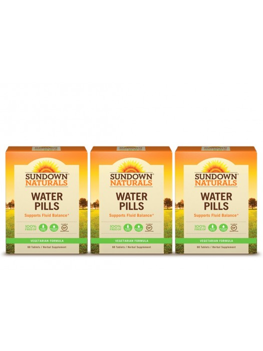 Sundown Naturals Water Pills, 60 Tabs, Pack of 3