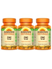 Sundown Naturals Zinc Gluconate 50mg, 100 tabs, Pack of 3