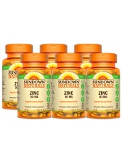 Sundown Naturals Zinc Gluconate 50mg, 100 tabs, Pack of 6