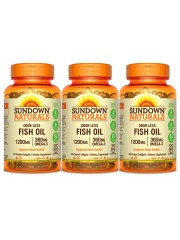 Sundown Naturals Odorless Fish Oil 1200mg, 85 coated sgls, Pack of 3
