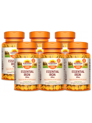 Sundown Naturals Essential Iron 65mg 120 tabs, pack of 6