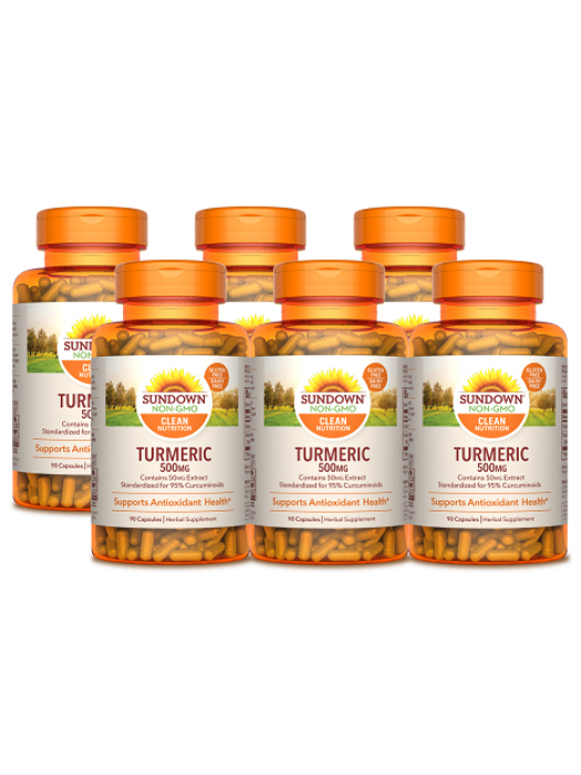 Sundown Naturals Turmeric 500mg, 90 caps, pack of 6