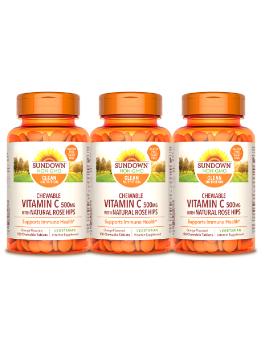 Sundown Naturals Vitamin C 500mg, 100 chewable tabs (Orange), pack of 3